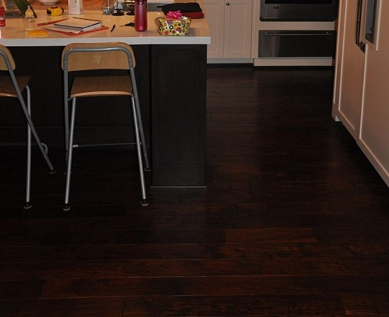 Black walnut wood floor color in kitchen