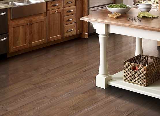 Java teak vinyl floors for Kitchen - image: feelgoodfloors.com