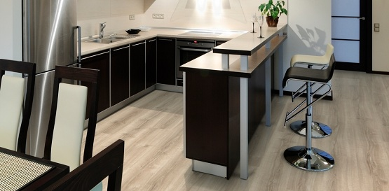 Luxury vinyl tiles flooring for kitchen
