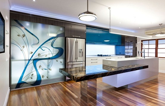 wood floor in contemporary kitchen - Contemporary Kitchen Floors