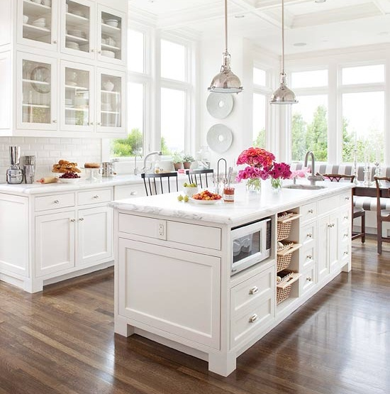 Wood floor in white kitchen