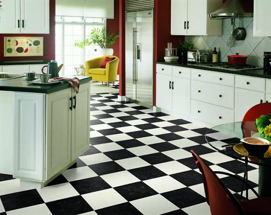 Black and white vinyl flooring kitchen ideas