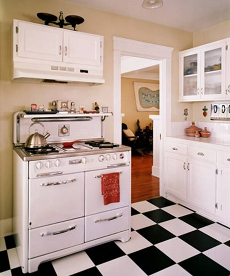 Vintage kitchen decor with black and white vinyl flooring