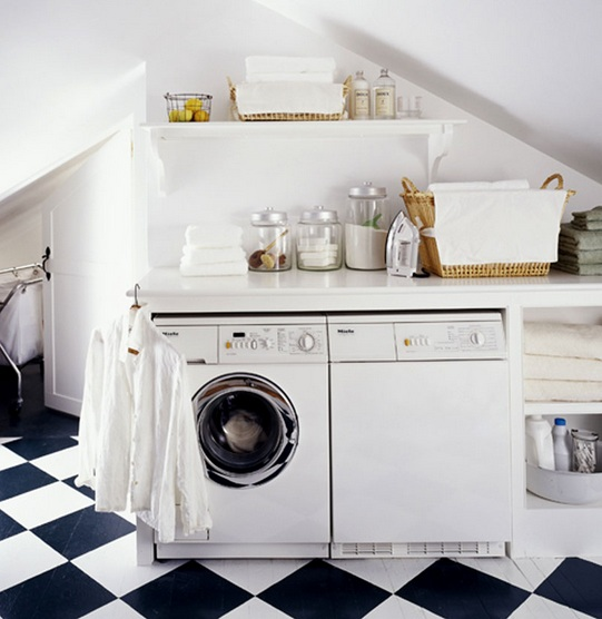 Black-white floor chessboard style for laundry room