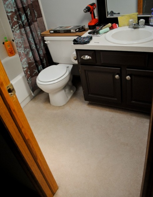 Carpeting bathroom floor