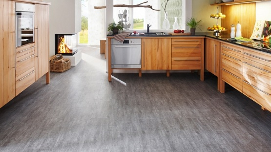 Glueless vinyl flooring in kitchen