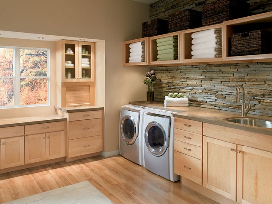 Hardwood floor in contemporary laundry room