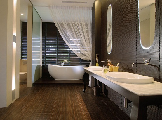 Hardwood Floor In Bathroom theres a bit of controversy over whether or not hardwood belongs in the kitchen or bathroom it used to be thought an unfavourable idea because the floors Bathroom Flooring Options Ideas White Spa Bathroom With Built In Vanity Bathroom Floor Options 5 Ideas