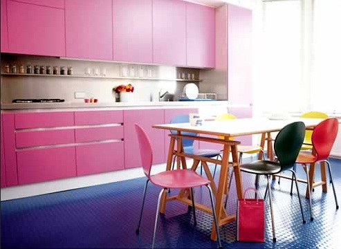 Natural blue rubber flooring kitchen
