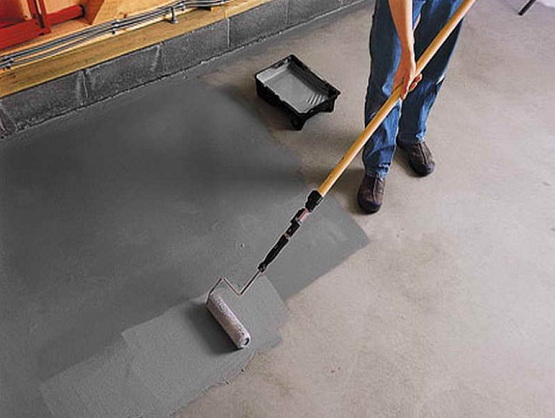 Paint concrete laundry room floor with grey