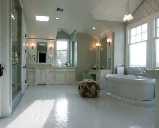Recycled glass tile bathroom floor options