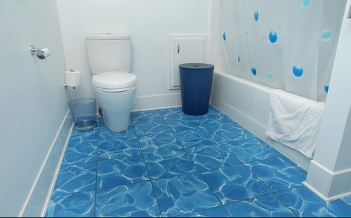 Recycled water blue tile bathroom floor options flooring for Blue tile bathroom ideas