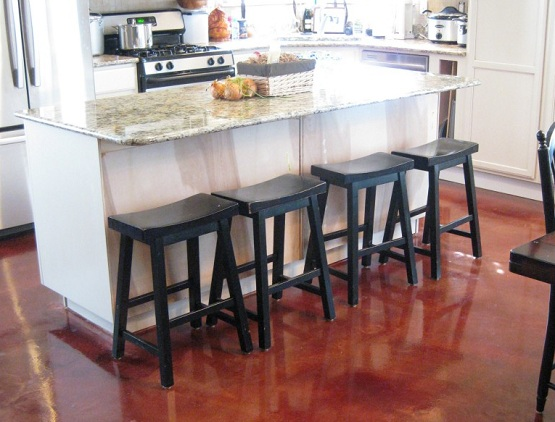 Red stained concrete kitchen floor flooring ideas - Kitchen concrete floor ideas ...