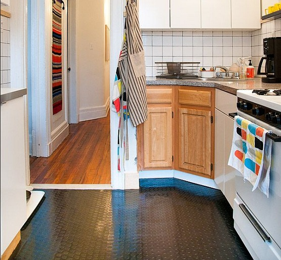 Temporary kitchen rubber flooring tiles