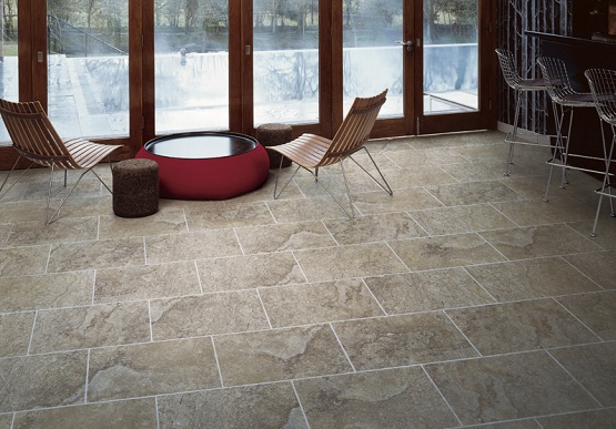 Stone style luxury vinyl tile flooring