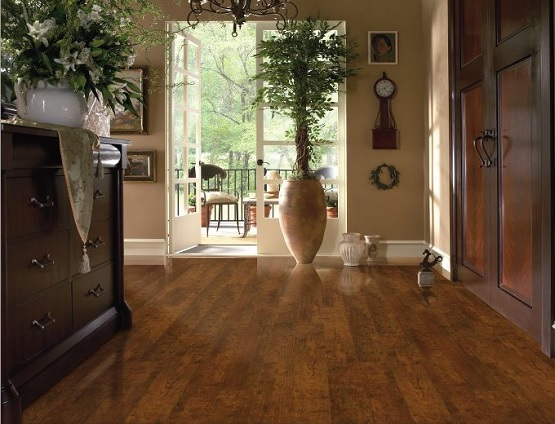 Bronze cherry wood look laminate flooring