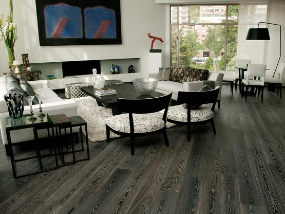 Living room with grey laminate flooring vinyl plank