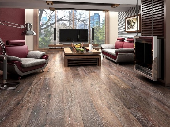 Living room with rustic hardwood flooring