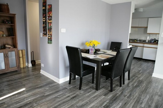 Natural Motif In Grey Laminate Flooring Minimalist Dining Room With