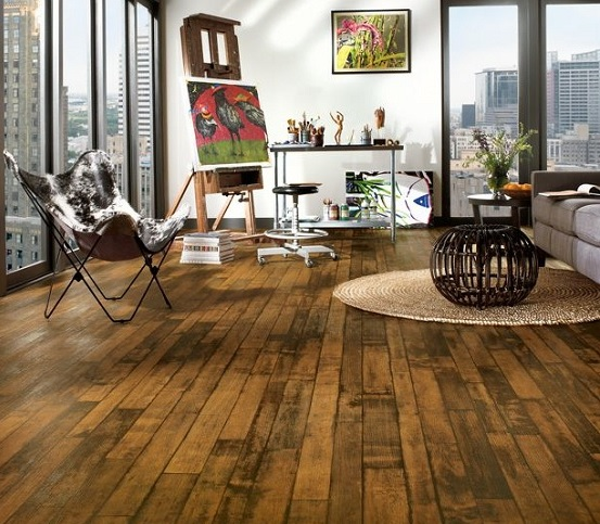 Modern home with rustic wood flooring