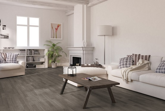 Vintage living room with oak plank grey laminate flooring