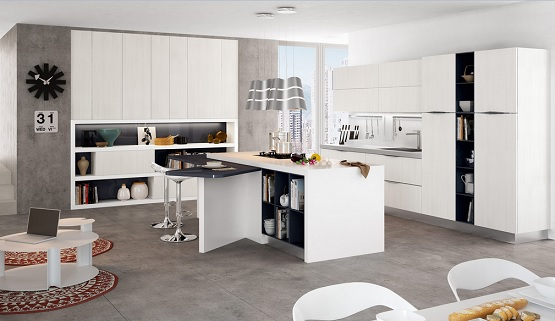 White kitchen with grey laminate flooring