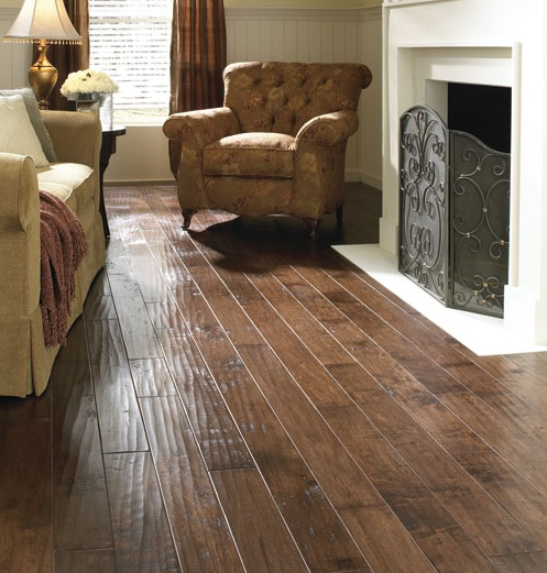 fireplace living room with hand scraped laminate flooring