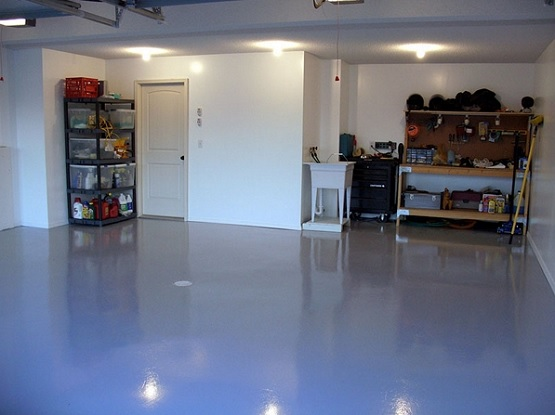 Blue epoxy garage floor coatings