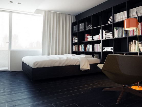 Using Black Laminate Flooring For Modern House » Bedroom With Black Laminate  Flooring