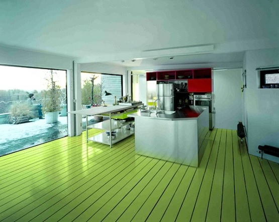 Apple green floor paint ideas for kitchen