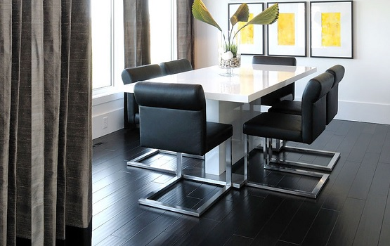 Dining room with black wood floor colors