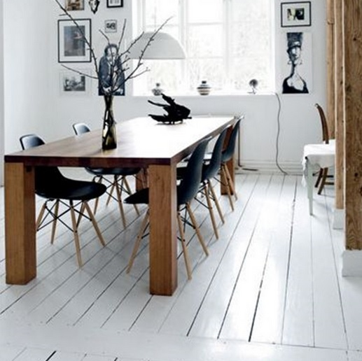 Dining room with white wood floor paint