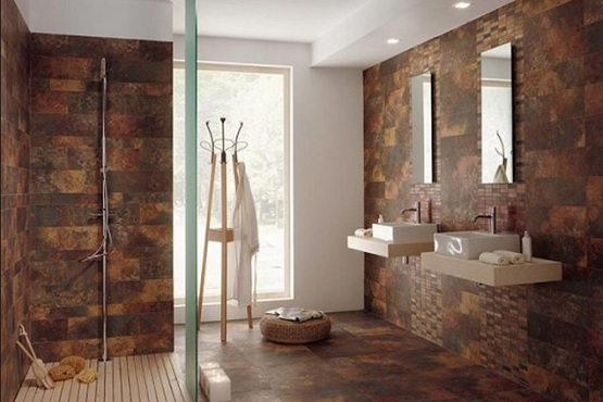Natural cork flooring in bathroom