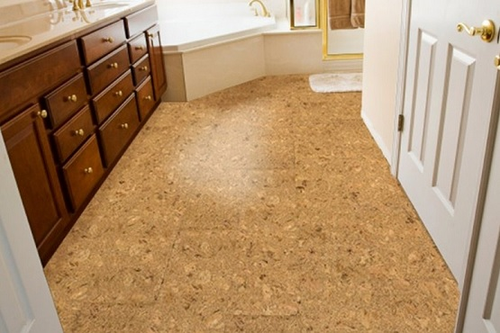Natural texture cork flooring in bathroom