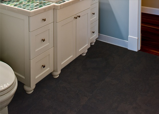Painted cork flooring in bathroom