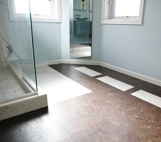 White brown cork tile flooring in bathroom