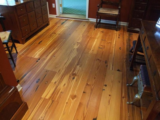 Antique wide plank pine flooring