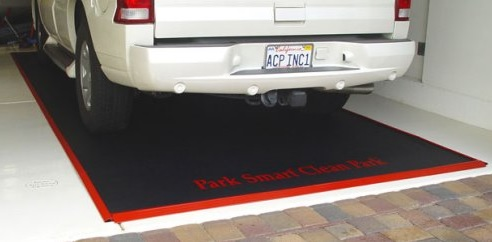 Black heavyduty garage floor snow mats