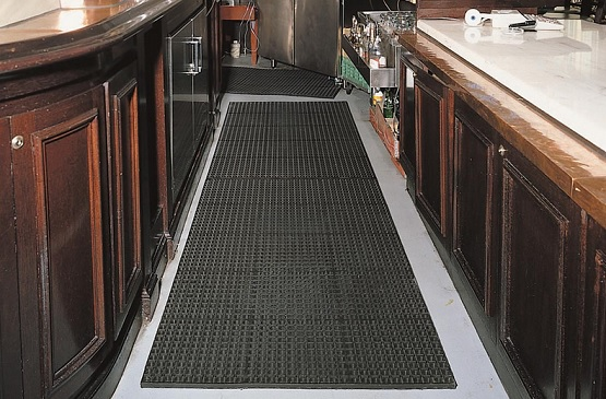 Black rubber commercial mats for kitchen