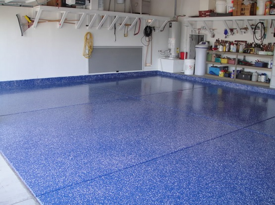 Blue color epoxy garage floor paint ideas