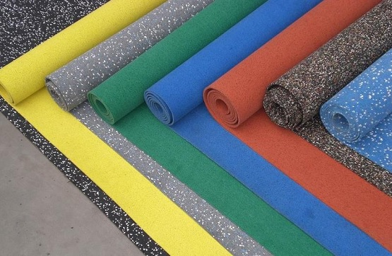 Color option of rolled rubber flooring