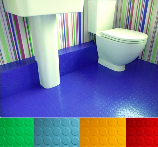 Colorful Rubber Bathroom Flooring Residential