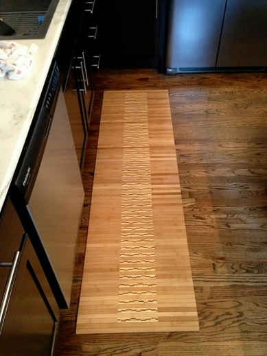 Decorative bamboo kitchen floor mats