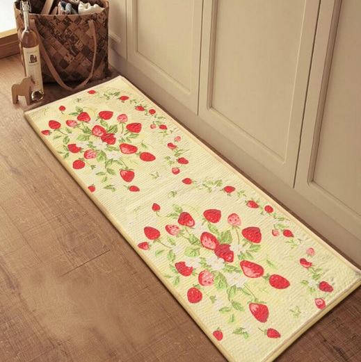 Decorative kitchen floor mats - Strawberry printing motif