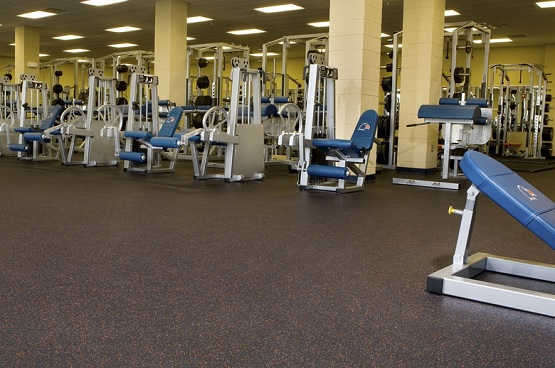 Fitness centers with rb rolled rubber flooring