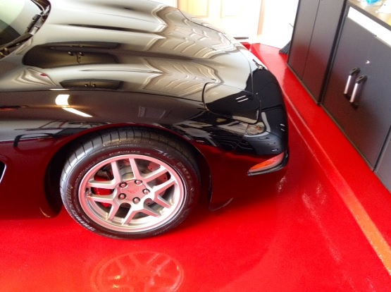 Glossy red garage floor paint ideas