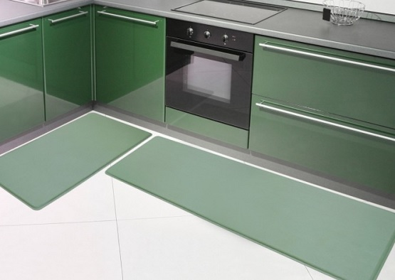 Green rubber kitchen mats with green cabinet