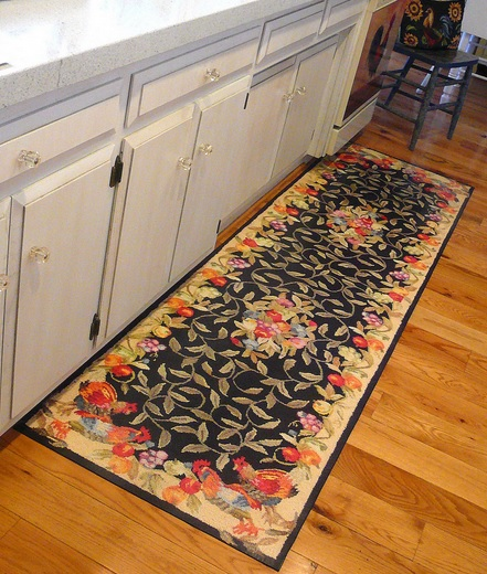 Hardwood flooring with decorative kitchen floor mats