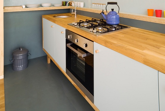 Kitchen with rubber flooring residential