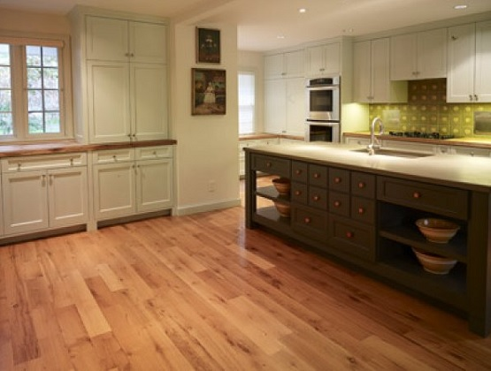 Kitchen with unfinished red oak flooring